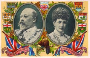 Figure 1. This circa 1907 patriotic postcard by the Prudential Insurance Co. has it all: King Edward VII & Queen Alexandra, a beaver, flags, maple leaves, and crests.