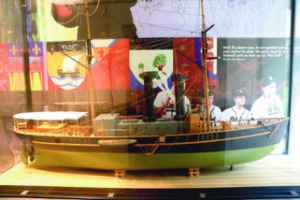 Model of SS Queen Victoria Steamer in display case. Photo: Courtesy of Confederation Centre of the Arts P.E.I.
