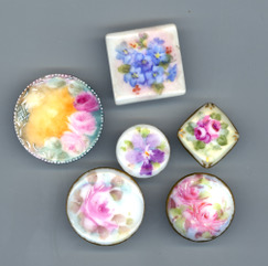 Hand- painted porcelain buttons from the 1890s