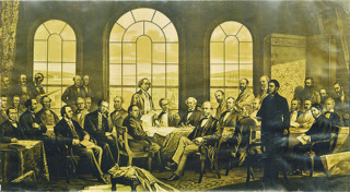 Fathers of Confederation Quebec Conference October 1864 Lithograph photo of original Robert Harris(1848-1919) painting c1883 The painting hung in the Parliament Buildings and was destroyed by fire in February 1916 Art Gallery of Nova Scotia