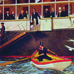William Henry Pope rowing out to greet Canadians delegates aboard SS Queen Victoria Oil Painting by Rex Wood Pinterest.com
