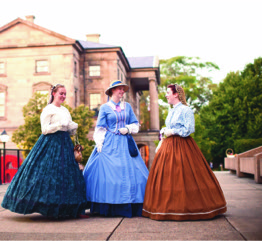 Charlottetown Players in period costume in front of Province House where the 1864 Confederation Conferenc took place. Photo: Courtesy of Confederation Centre of the Arts P.E.I