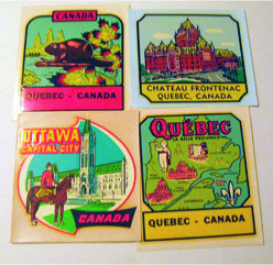 1950s car window decals of places visited on summer holidays