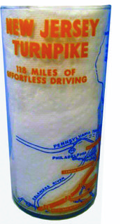 "A 6"" New Jersey Turnpike drinking glass - ""118 miles of effortless driving"