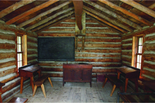 Interior of replica log schoolhouse c1974 Courtesy of Fanshawe Pioneer Village