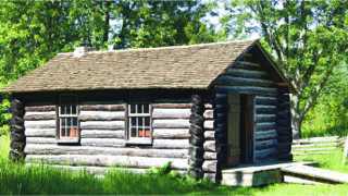 One-room log replica schoolhouse c1974 Courtesy of Fanshawe Pioneer Village