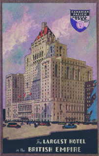 "Figure 3. ""The largest hotel in the British Empire"" is the caption on this terrific Royal York Hotel postcard published in 1929 by the CPR."