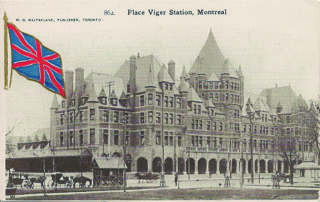 Figure 4. This W. G. MacFarlane postcard of Montreal's Place Viger is from a lengthy patriotic series with colourful Union Jacks upper left or upper right.