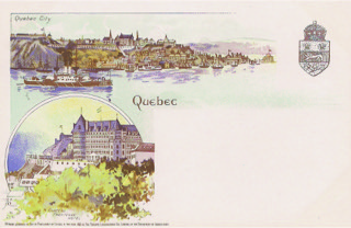 Figure 5. Quebec's famous Chateau Frontenac is shown in the lower left image on this circa 1898 postcard by the Toronto Litho Co.