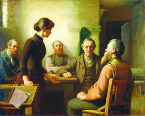 """Artist Robert Harris (1849-1919) painting """"A Meeting of the School Trustees"""" c1885 National Gallery of Canada, Wikipedia Commons"""