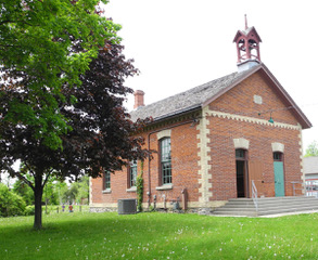 Historic Zion Schoolhouse c 1869 Entrances – one for boys and one for girls ~ photo by Douglas Phillips