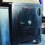 The combination to this upright safe made by the J. & J. Safe Works has had been lost, and there's no telling what new stories the safe is guarding inside. In time, the society says they'll find a way to get the safe open