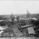 Canadian Soldiers laying  trench boards Passchendaele 1917, Belgium William Rider Photo LCA PA2156