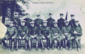 Figure 3. This circa 1906 postcard shows Otter, then a brigadier-general, with his officers at Camp Niagara. The card's publisher is unknown.