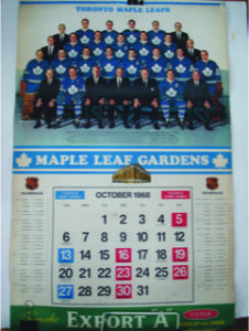 Toronto Maple Leafs 1968/69 Calendar shows the NHLschedule for that year. Priced at $80 Call Kevin at (613) 393-2111