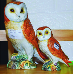 Bob Sonier Antiques Precott On offered these Beswick figurines of barn owls. Larger one (a decanter) priced at $89 and the other at $49