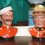 In the booth of Joe Olliver Antiques Lindsay, ON,was a pair of Royal Doulton figurines depicting RCMP original uniform up to 1973 and the more modern uniform post 1973. Full provenance came with the two. $ 600 for pair