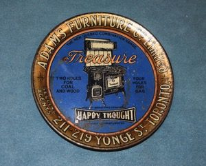 Found in Reid's Antique Stouffville ON was this small advertisement tray for Happy Thoughts wood stoves. It sold at the show.