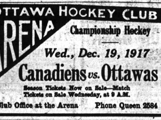 A newspaper ad for the very first NHL game to be played, on December 19, 1917. Note the Senators are referred to as the Ottawas.