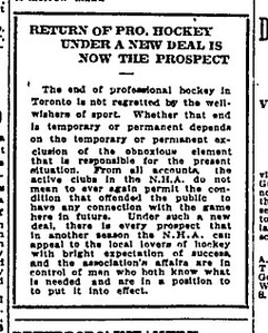 This February 13, 1917 Toronto Globe editorial does not lament the end of professional hockey in Toronto. (If you are not aware, the Globe and Mail was not formed until 1936.)