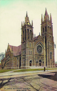 Figure 1:Montreal's glorious St. James Methodist (now United) Church is shown in this c. 1907 Warwick Bros. & Rutter (Toronto) postcard.