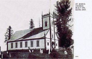 Figure 2: Another c. 1907 Warwick Bros. & Rutter postcard, this time showing St. John's Anglican Church in Bath, Ontario.