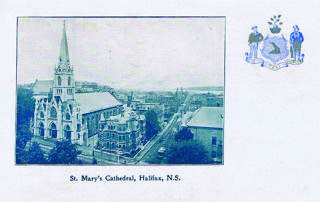 Figure 3:Toronto publisher W.G. MacFarlane is responsible for this heraldic postcard of Halifax's St. Mary's Cathedral.