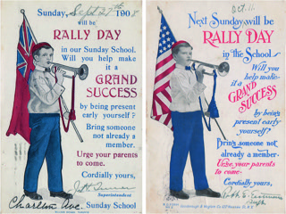 "Figure 4:Canadian and American Sunday School ""Rally Day"" postcards from 1908."