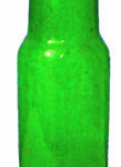 A dark green bottle from the late 1800's. For many years colored glass was cheaper to produce than clear. In addition, different colored glass was employed for certain types of products