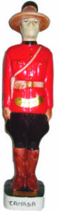 "A 1970 figural bottle in the image of a Mountie. He stands 15"" tall"