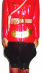 """A 1970 figural bottle in the image of a Mountie. He stands 15"""" tall"""
