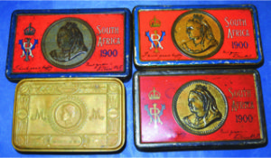 Canadian South African War Chocolate boxes c1900 and Princess Mary tins which contained gifts of things like pencils, sweets and tobacco. www.frasermedals.com