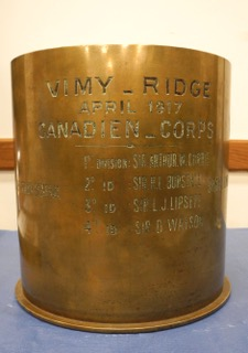 Vimy Ridge Trench Art. German 210mm artillery shell with names of Canadian Military Commanders Private Collector Tel: 905 725 2012